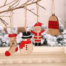 Ozdoby świąteczne ozdoby do domu drewniane malowane kolorowy dom wisiorek dla dzieci zabawki świąteczny prezent 2021 wystrój nowego roku Navidad tanie tanio Bez pudełka christmas decorations for home home decor new year decor kerst christmas tree decorations new year 2021