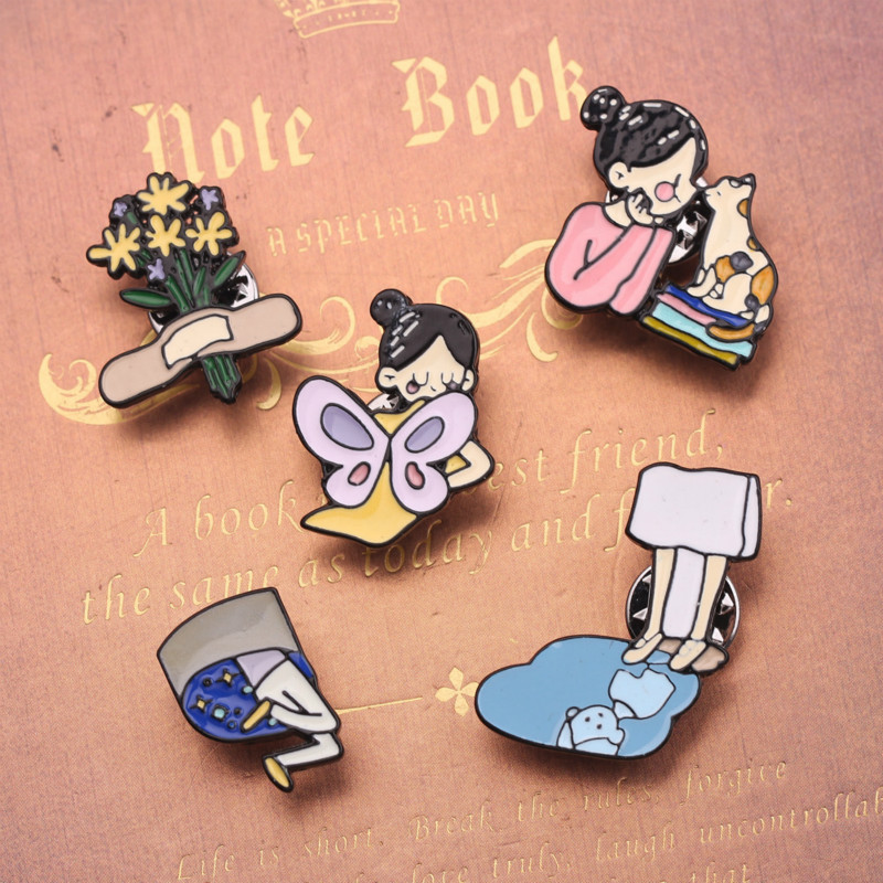 Cartoon Girl Kiss Cat Series Brooches for Women Creative Bouquet Half Body Girl Badge Enamel Pins <font><b>Bts</b></font> Pin Jewelry Accessories image