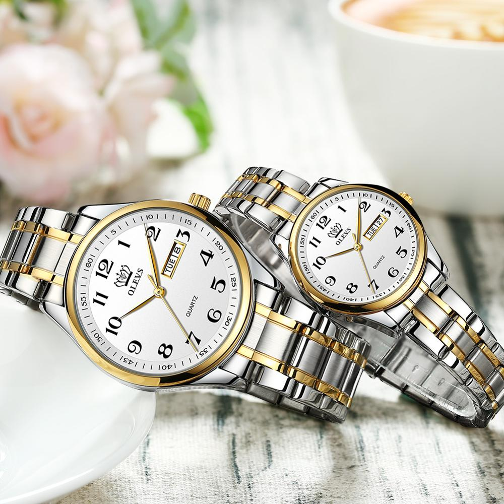 Luxury Couple Watches Pair Men And Women Wrist Watch Fashion Casual Lovers Watch Sttainless Steel Montre De Couple With Date
