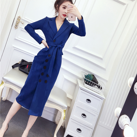 Women Long Faux PU Leather Suede Jacket With Belted 2019 New Fashion Ladies Elegant  Coats Trench Female Outerwear Karachi