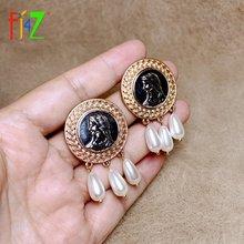 Fj4z Женские винтажные серьги в стиле ретро с большими монетами