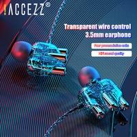 ! ACCEZZ 3,5mm Jack Kopfhörer Transparent Core Bass Surround In-ohr Earbuds Für iPhone 11 Pro XS Samsung Sport kopfhörer Mit Mic