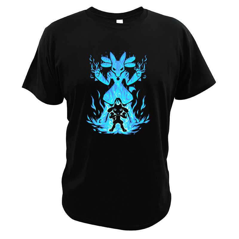 ポケモン Tシャツ素敵なデジタルプリント EU サイズ高品質クルーネックソフトビデオゲームルカリオトップス Tシャツ
