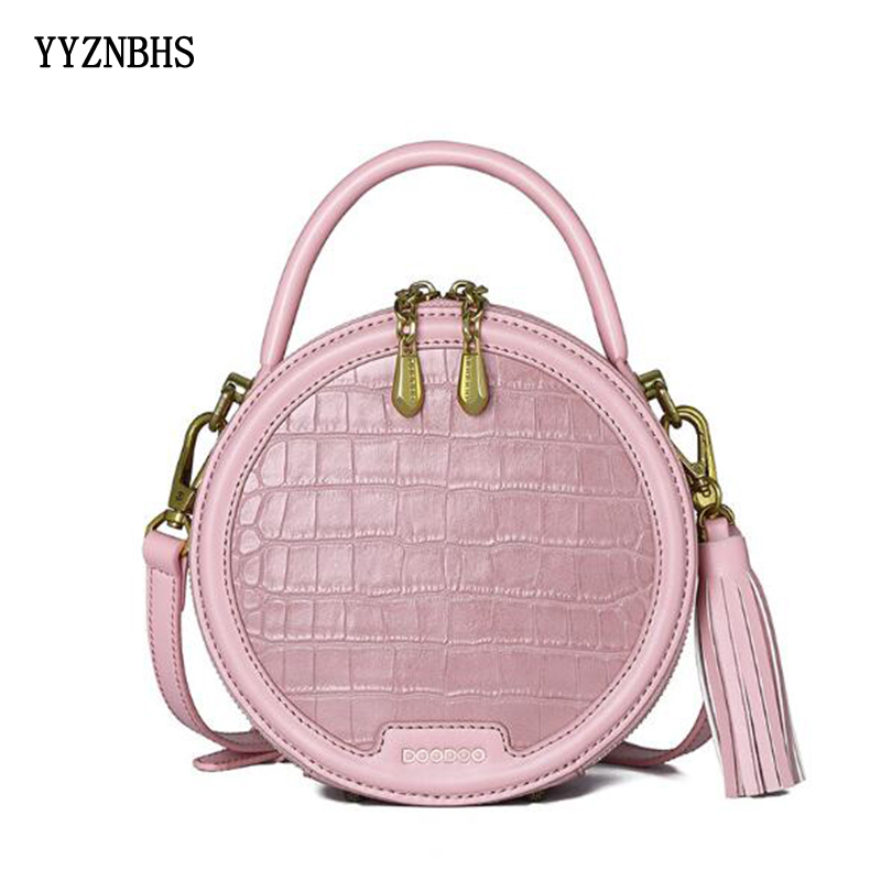 Genuine Leather Shoulder Bag Women Round Bag Luxury Handbags Ladies Crossbody Bags For Women 2019 Circle Bags Tassel Sac A Main