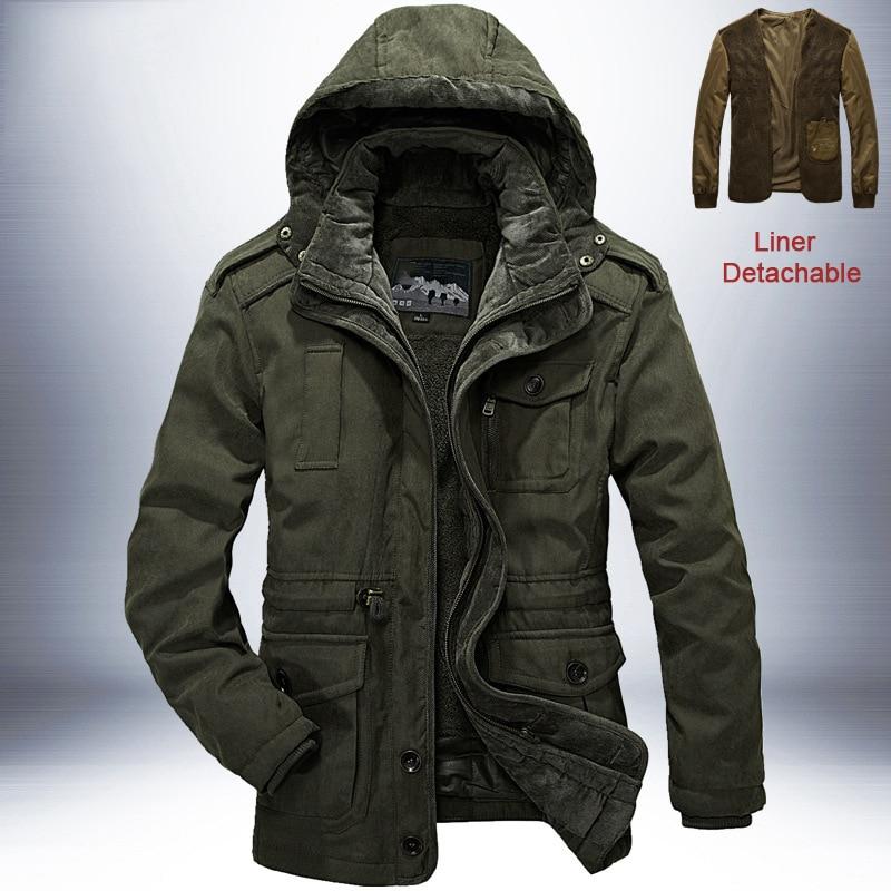 Брендовая зимняя куртка, Мужская Толстая теплая ветровка, мужские парки, высокое качество, кашемировая подкладка, съемная, 2 в 1, пальто размера плюс L 4XL - 2