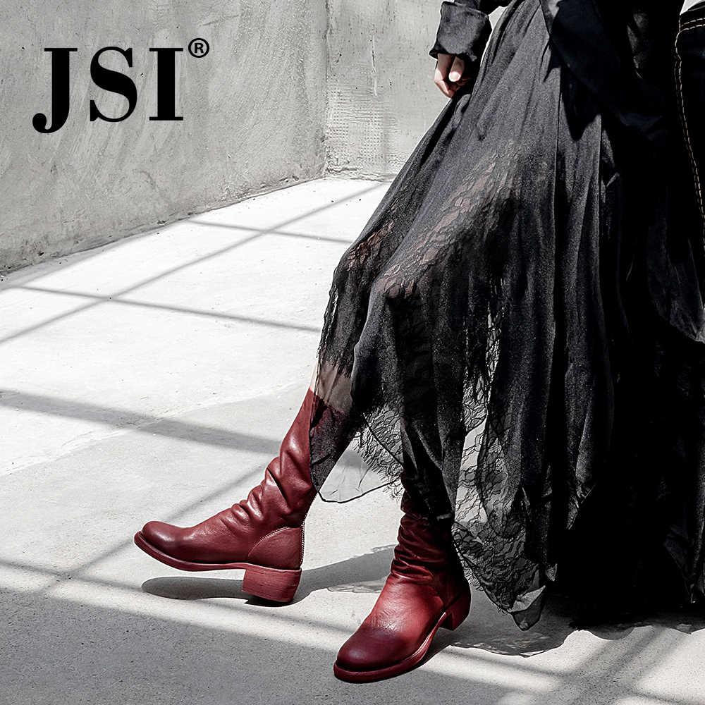 JSI kadın çizmeler orta buzağı Zip yuvarlak ayak kare topuk düz çizmeler kadın hakiki deri fermuar Med topuk el yapımı bayan ayakkabıları jo310