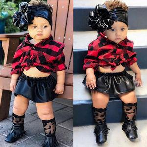 Модная одежда для новорожденных девочек 0-24 месяцев, Рождественская одежда, футболка, топ + платье с кожаной юбкой, комплект