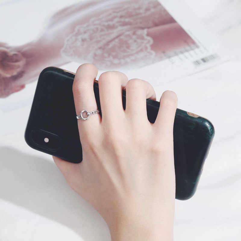 ANENJERY خمر غير النظامية السلس قفل سلسلة التايلاندية خاتم فضة 925 فضة خاتم قابل للتعديل حجم الجملة S-R589