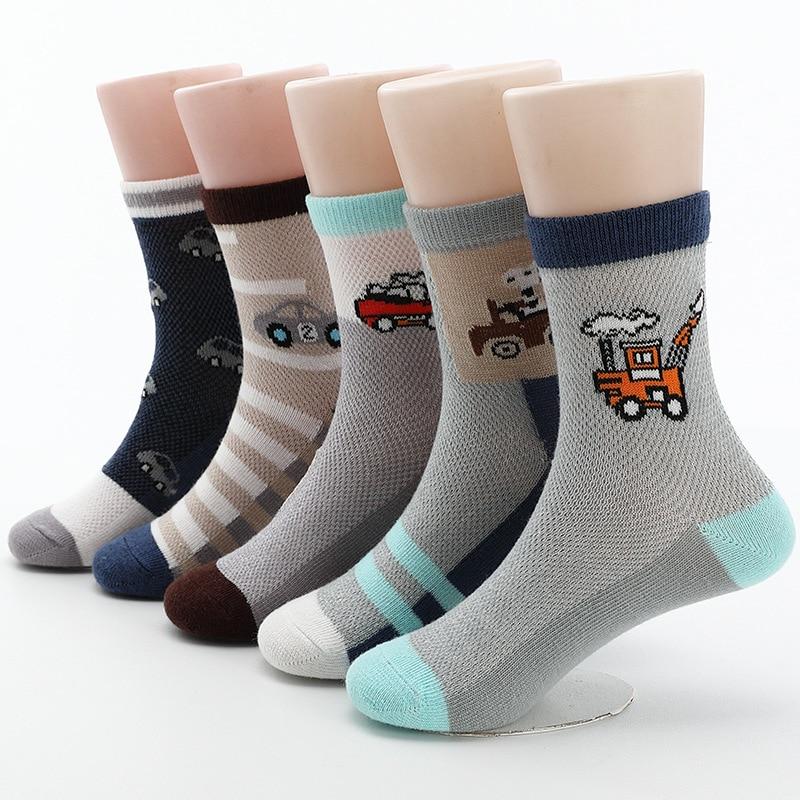 2020 New Spring Summer Children Socks Mesh Breathable Car Style Cotton Boys Socks 3 -15 Year Kids Socks 5 Pairs/lot