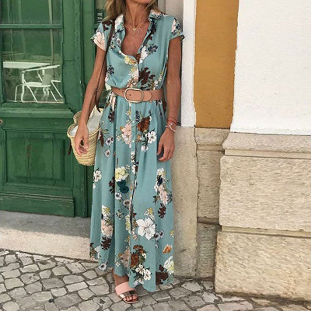 Women Summer Dress Boho Long Maxi Dress Short sleeved Party Beach Dresses 2020 New fashion Female Split Sundress