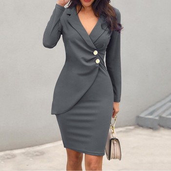Women Casual Solid Jackets Female Elegant Double Breasted Long Ladies Plus Size Button Military Style Dress 8