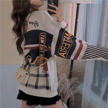 Round neck sweatshirt womens tide 2020 new autumn student girlfriends loose Korean version plus velvet top hoodies
