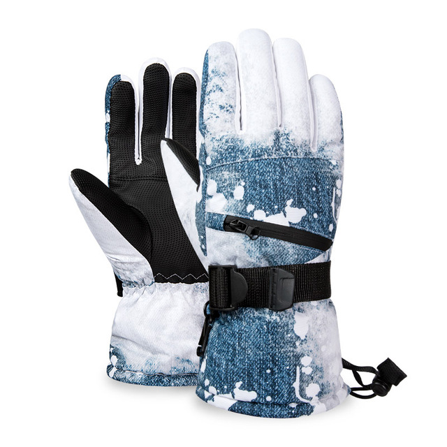 Thermal Ski Gloves Men Women Winter Fleece Waterproof Warm Child Snowboard Snow Gloves 3 Fingers Touch Screen for Skiing Riding 2