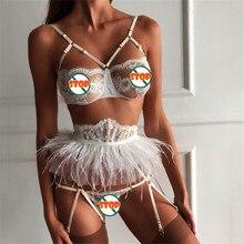 Women Sexy set Sissy Lingerie porno Sheer Lace Bra set Elegant Ladies hot erotic Underwear G-string