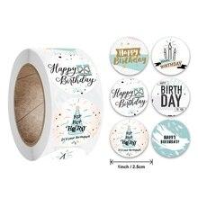 """500 шт. 1 дюйм Мультяшные стикеры """"День рождения"""" для детей бумажную этикетку вечерние событие Baby Shower конфетный торт Сезон: Осень подарочной ко..."""