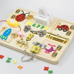 Baby busy board montessori toy for kids  toddler diy wood toy elements parts Busy Board Toys Kids Early Education
