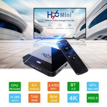 Smart TV H96 mini H8 ، Android 9.0 ، RK3228 ، 2 جيجابايت/16 جيجابايت ، وحدة فك ترميز الإشارة مع 2GB ، Wifi 2.4G/5G ، bluetooth 4.0 ، 4K ، Youtube ، Google Play ، مشغل الوسائط ، iptv