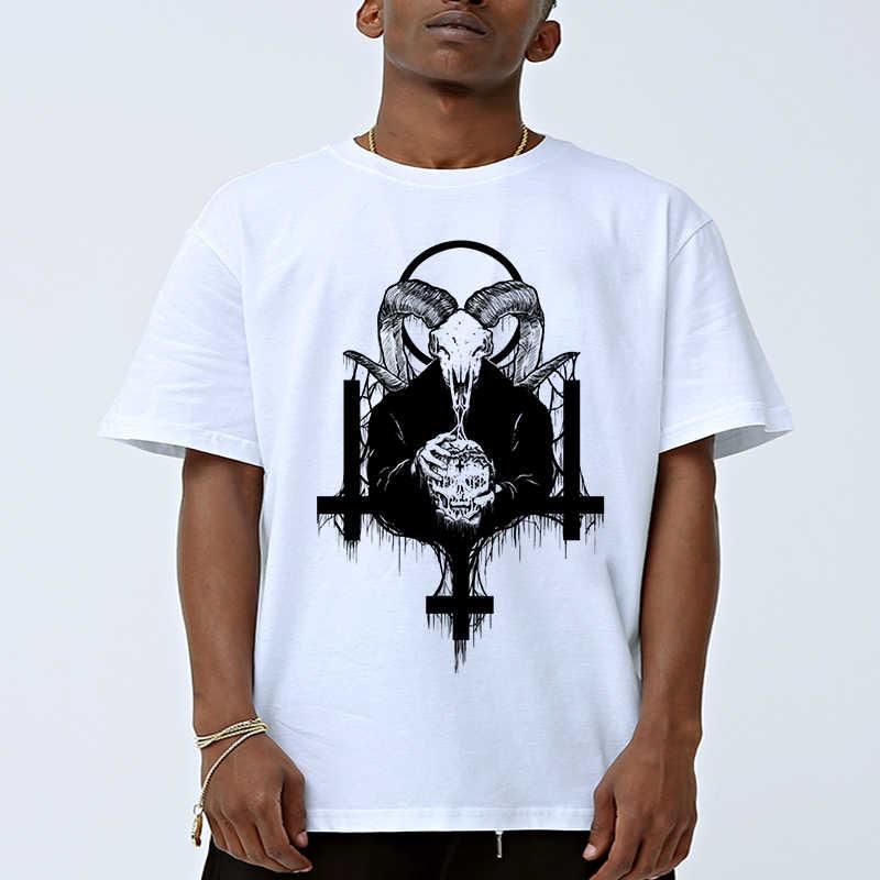 Lungo Uomini Saling Magliette e camicette Magliette Satana Horror Demone Morte Spaventoso Male Degli Uomini T Shirt Satana Stampato T Shirt Magliette Homme confortevole Uomini Tee
