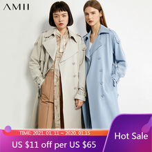 Amii minimalisme automne hiver casual Trench manteau femmes mode solide revers Double Bresated femmes coupe-vent 12040353
