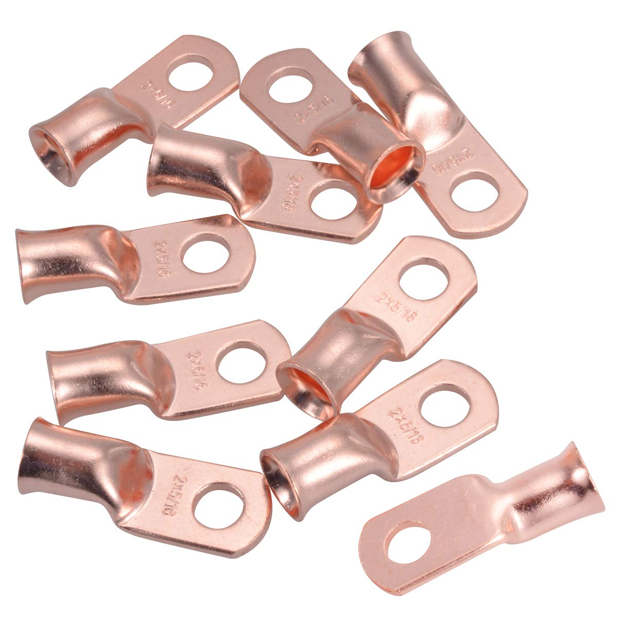 """3//0 3//8/"""" Hole Ring Terminal Lug Bare Copper Uninsulated AWG Gauge"""