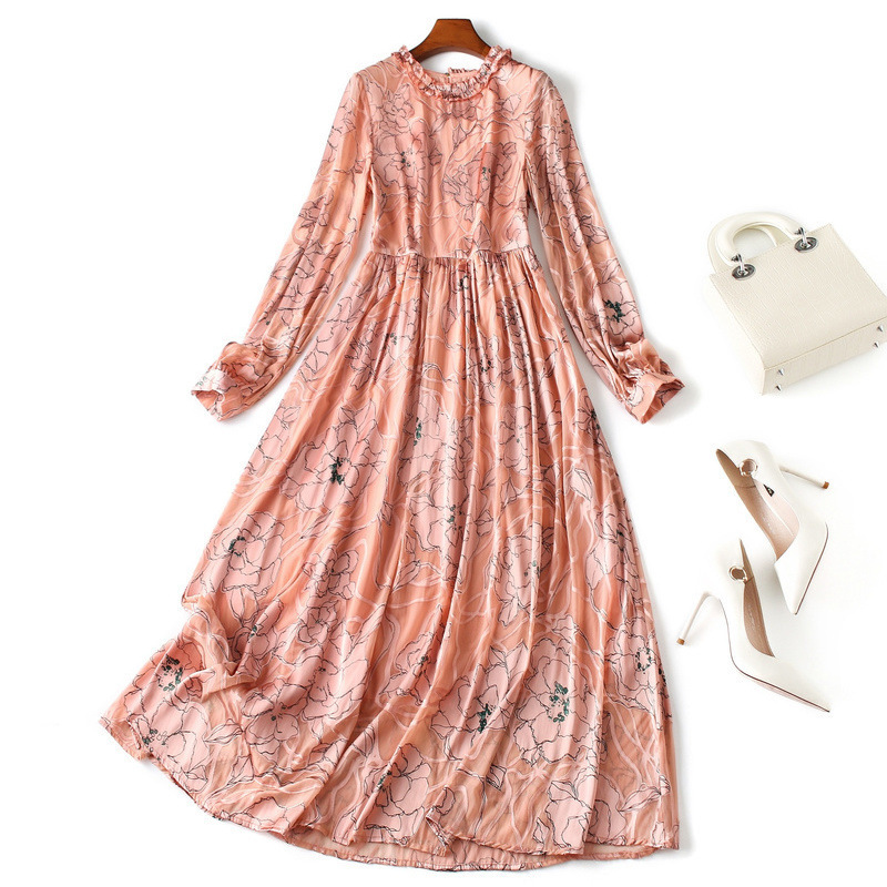 Silk Dress Autumn 2019 New Stitching Lace Dress Long Sleeve Print Fit And Flare Long Dresses
