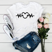 Lus Los Simple strokes Mickey Mouse head electrocardiogram print Women's Shirt Unisex Fashion tshirt Short-sleeved women's tops(China)