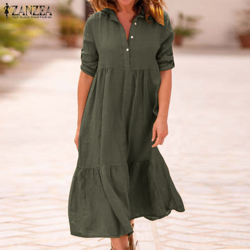 Zanzea 2021 vestido de linho de algodão de lapela feminino outono camisa de manga comprida vestido de senhoras longo maxi trabalho ol robe femme vestido de verão