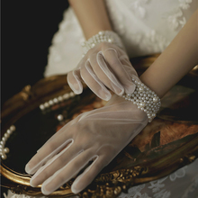 Wedding-Gloves Bride-Accessories Wristband Lace Party Women Short for Girl Jewelry Pearls