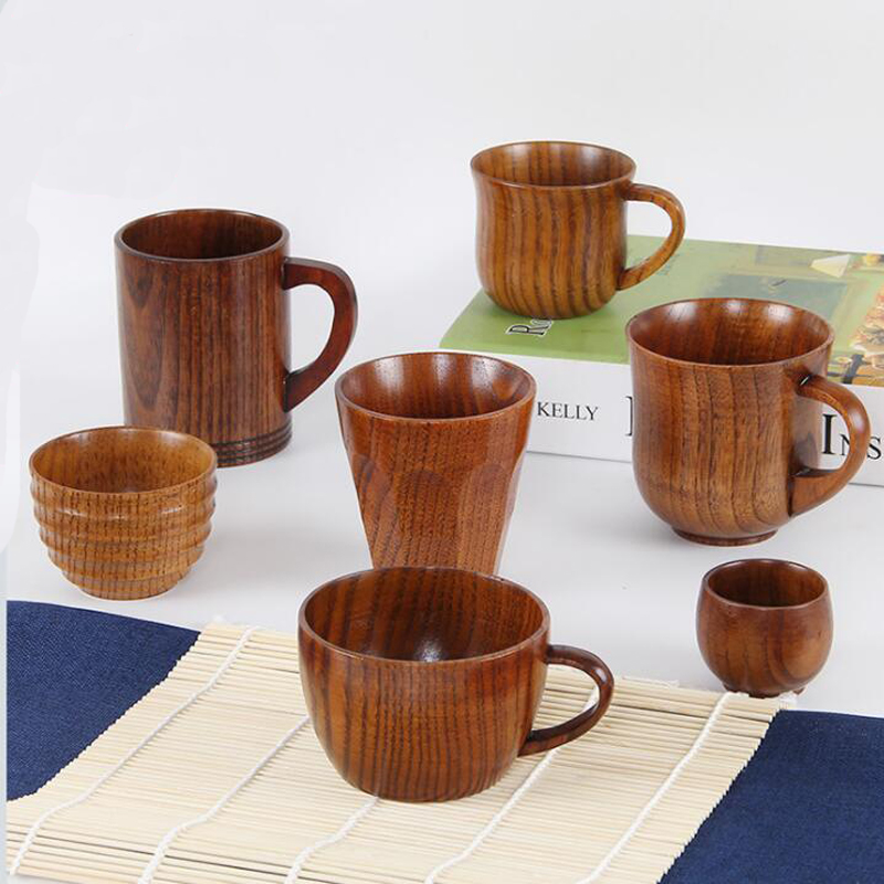 High Quality Creative Natural Wood Mug Coffee Wine Glass Kettle Insulation Tea Cup For Family Tea Room Bar Beer Milk Drinkware