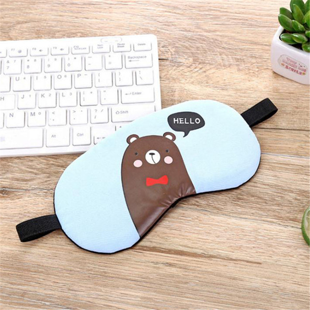 1PC New Fashion Portable Cute Sleeping Eye Mask Korean Style Soft Padded Sleep Travel Shade Cover Rest Relax Sleeping Blindfold 2