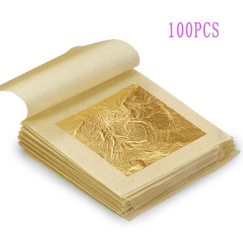 20/50/100PCS Reine 24k Gold Leaf Blätter Buch Food Grade Essbare Handwerk Funiture für DIY crafting und Scrapbooking 4,33*4,33 cm