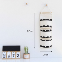 Nordic Style Three grids Cotton Linen Hanging Storage Bag Wall Mounted Wardrobe Hanging Bag Wall Pouch Cosmetic Toys Organizer