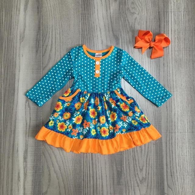 가을/겨울 아기 소녀 옷 어린이 겨자 오렌지 해군 꽃 드레스 우유 실크 코튼 프릴 부티크 경기 활 무릎 길이