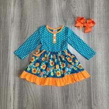 Autunno/inverno del bambino delle ragazze dei vestiti dei bambini di senape orange navy vestito dal fiore di cotone di seta del latte ruffle boutique partita arco ginocchio lunghezza