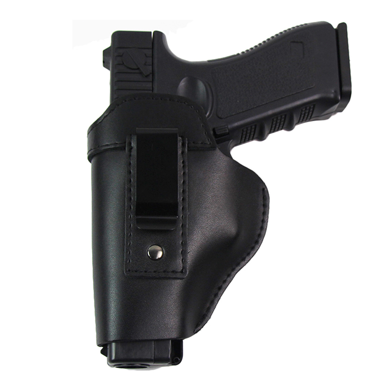 Leather Gun Holster For Glock 17 18 19 22 26 Beretta M92 Sig Sauer P226 Cz 75 Shadow Airsoft Pistols Concealed Holster Clip Case