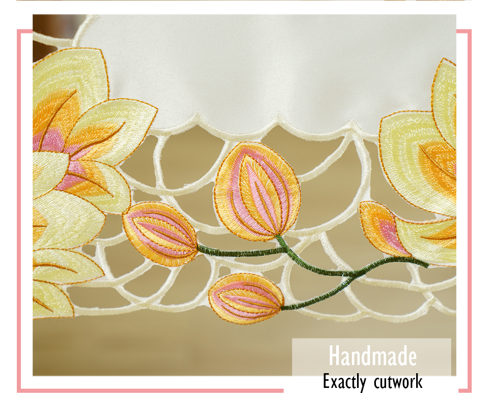 LongShow Luxury Wedding Party Decorative Pink Yellow Color Handmade Satin Cutwork Embroidery Table Runner TV Stand Cabinet Cover