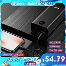 ROMOSS PEA57 Power Bank 57000mAh SCP PD QC 3,0 Zwei-weg Schnelle Aufladen Power Typ-C Externe batterie Ladegerät Für Huawei iPhone
