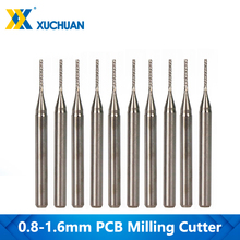 10 adet 0.8 1.6mm CNC Router Bit Set karbür PCB freze kesicisi 3.175mm Shank CNC End Mill