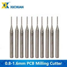 10pcs 0.8 1.6mm CNC 라우터 비트 세트 초경 PCB 밀링 커터 3.175mm 생크 CNC 엔드 밀