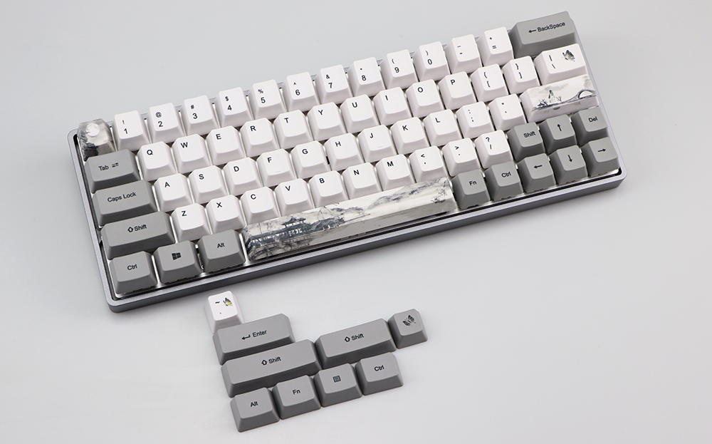 68//87//104 Black and White Japanese Keycaps PBT XDA DSA Height Standard Five-Sided Sublimation Process Keycap Compatible with GH60 GK64 GK61