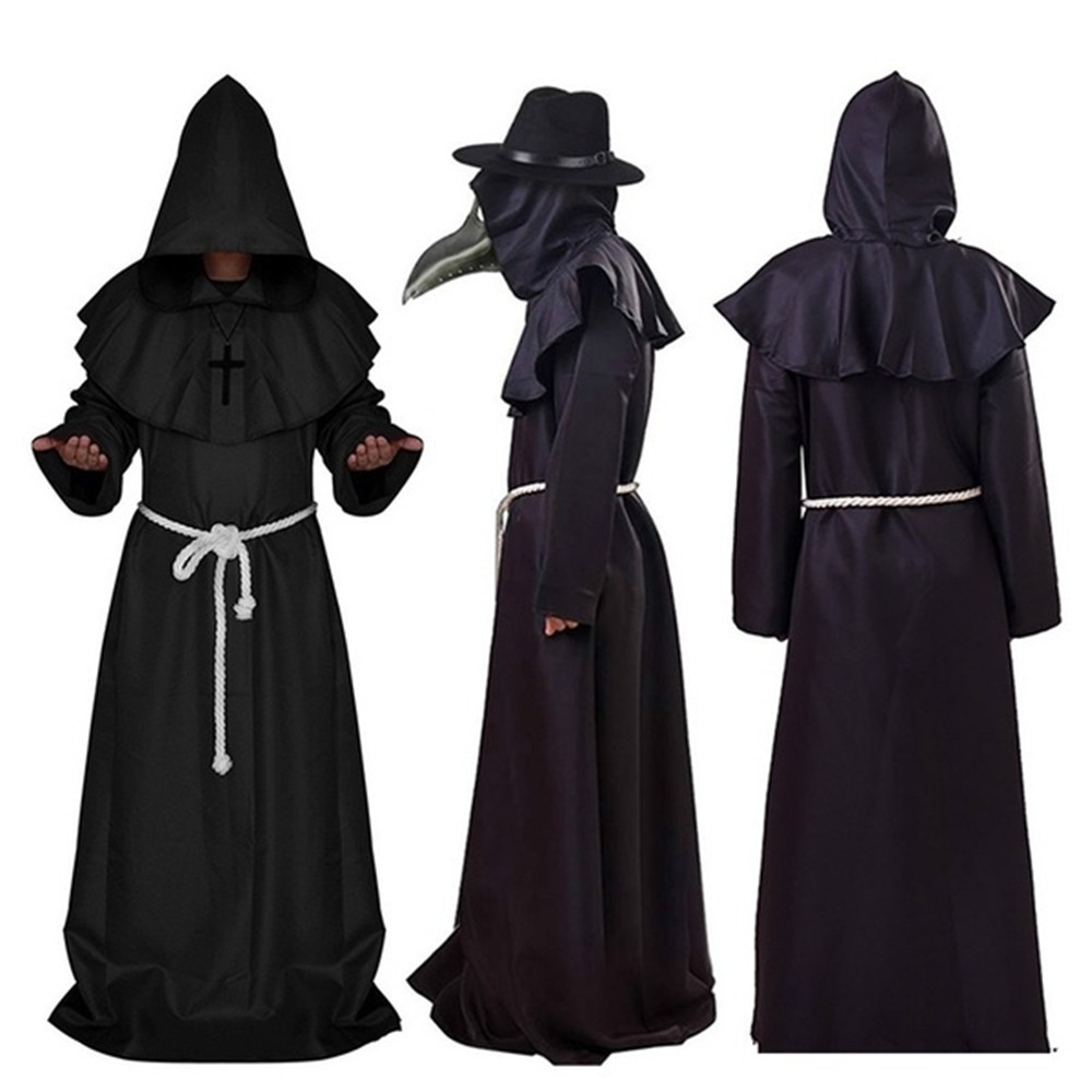 Halloween Plague Doctor Cosplay Costume Steampunk Medieval Hooded Dress Mask Dr Pest Role Playing Outfit Adult Halloween Costume