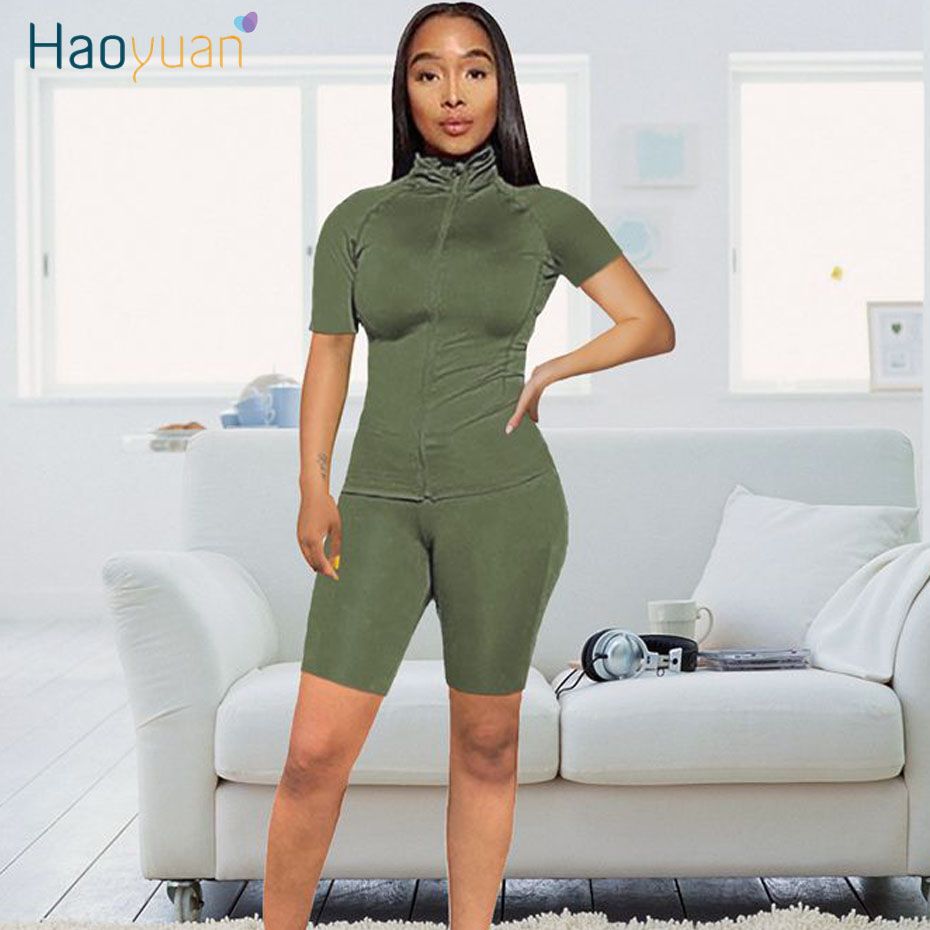 HAOYUAN Two Piece Set Tracksuit Women Summer Clothes Short Sleeve Top And Biker Shorts Sweat Suits 2 Piece Outfits Matching Sets