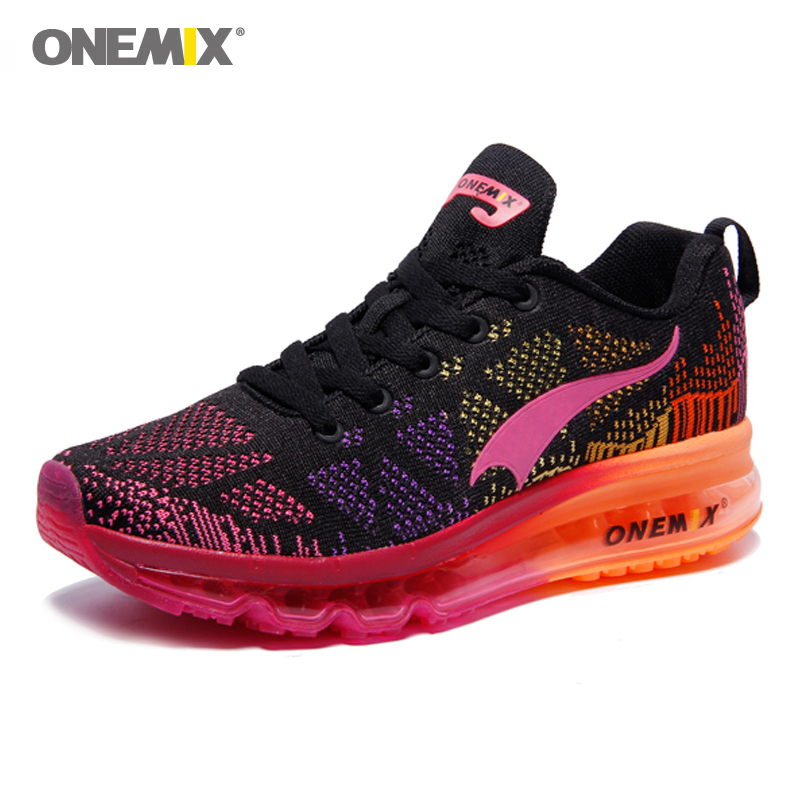 ONEMIX Air Cushion Women Running Shoes Pink Zapatos De Mujer Female Breathable Sneakers Non-slip Comfortable Mesh Athletic Shoe