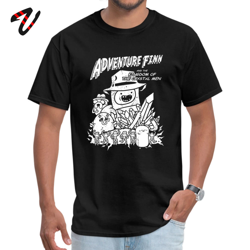 Black White T-shirt Men Funny Comics Tee Adventure Finn Adventure Time Top Clothes All Cotton Summer Great T Shirt Birthday Gift image