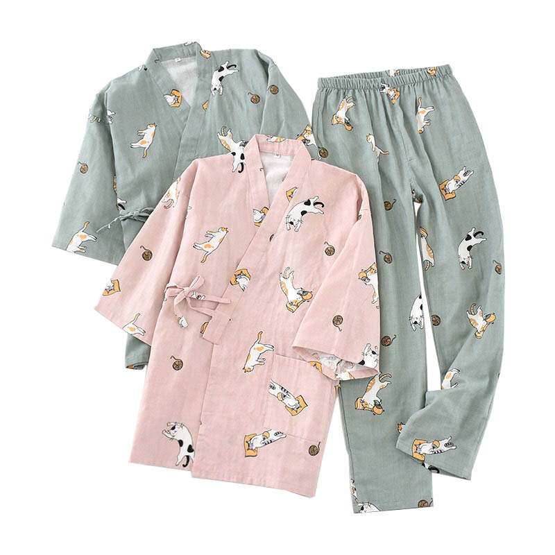 Ladies Spring And Fall New Pyjamas Set Cute Cartoon Kitten Printed Women Comfort Gauze Cotton Sleepwear Soft Thin Home Wear