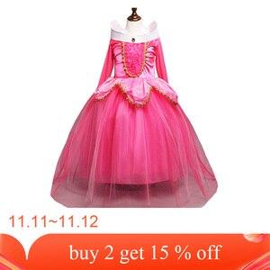 Image 2 - 3 10Ys dziewczyna Aurora kostium księżniczki dzieci śpiąca królewna sukienka Cosplay Halloween sukienka świąteczna dla dzieci sukienka na przyjęcie urodzinowe