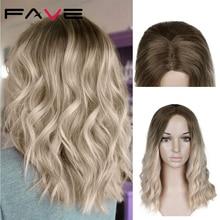 Женский парик из термостойкого волокна FAVE, черный/белый парик из синтетических волос с короткими волнистыми волнами в американском стиле, д...