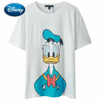 Disney T-Shirt Chic Fashion Front Back Donald Duck Cartoon Print Sweet Women T-Shirt O-Neck Pullover Short Sleeve White Tee Tops twist front plunging t shirt