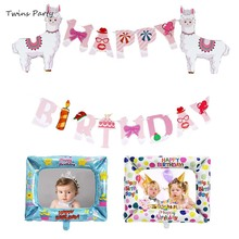 Twins Party Cartoon Animal Alpaca Happy Birthday Banners Baby Shower Supplies  Alpacasso llama Decoration