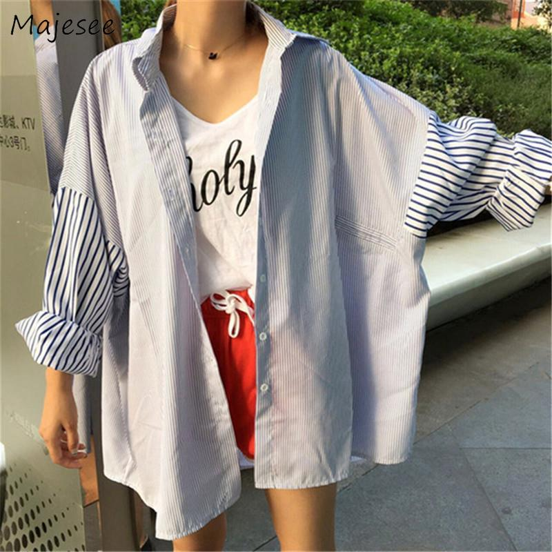 Shirts Women Loose BF Harajuku Patchwork All-match Student Striped Streetwear Womens Shirt Korean Style Causal Ulzzang Chic New